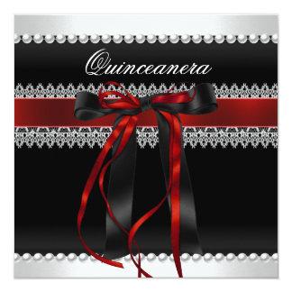 Quinceanera Red Bow Black Pearl Lace Diamond 13 Cm X 13 Cm Square Invitation Card