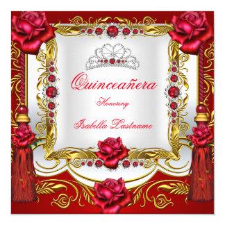 Quinceanera Regal Red Gold Rose Tassels Tiara Card