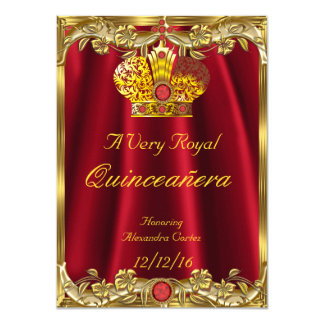 Quinceanera Royal Red Gem Gold Princess Crown 2 Card