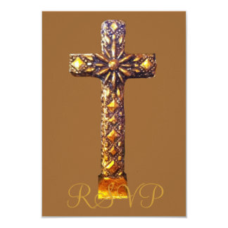 Quinceanera RSVP 15th Birthday Gold Cross Card