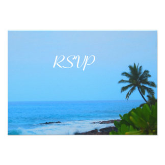 Quinceanera RSVP Guest Reply Palm Tree by Beach Custom Invitation