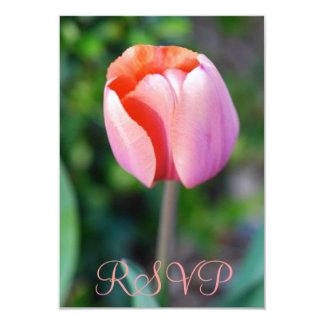 Quinceanera RSVP Pink Tulip 15th Birthday 9 Cm X 13 Cm Invitation Card