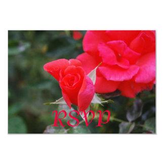 Quinceanera RSVP Red Rose 9 Cm X 13 Cm Invitation Card