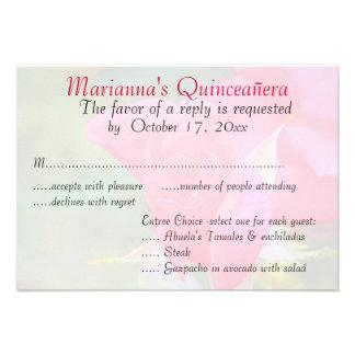 Quinceanera RSVP Red Rose Custom Invite