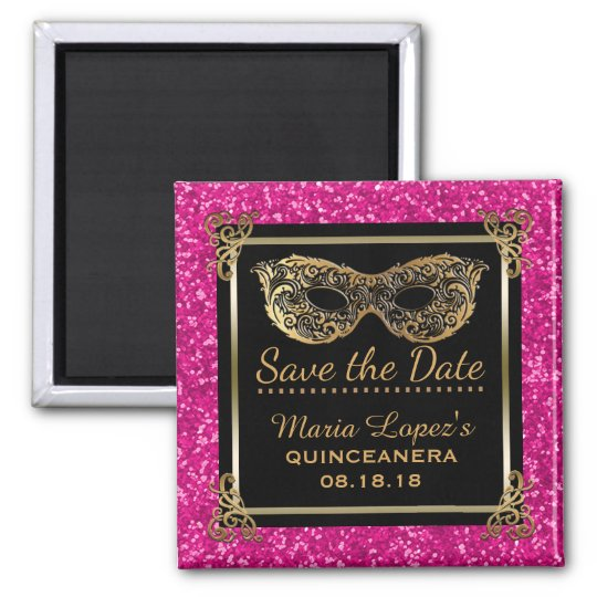 Quinceanera Save the Date Birthday Pink Gold Magnet