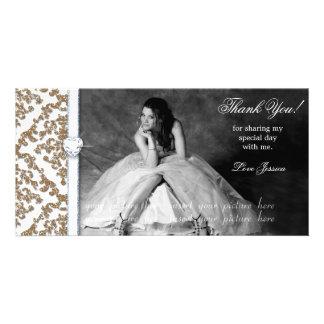 Quinceanera Sweet Sixteen Glitter Damask Customized Photo Card