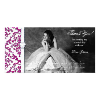 Quinceanera Sweet Sixteen Glitter Damask Photo Greeting Card
