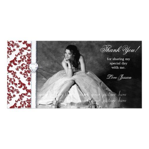 Quinceanera Sweet Sixteen Glitter Damask Custom Photo Card
