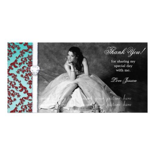 Quinceanera Sweet Sixteen Glitter Damask Photo Card Template
