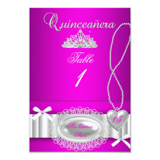 """Quinceanera table number cards Hot Pink Lace 3.5"""" X 5"""" Invitation Card"""