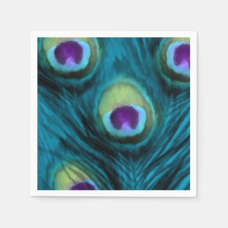 Quinceanera Teal and Purple Peacock Disposable Napkins