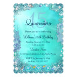 Quinceanera Teal Blue Ocean Jewel Birthday Party 13 Cm X 18 Cm Invitation Card
