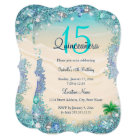 Quinceanera Teal Blue Sand Ocean Beach Birthday Card