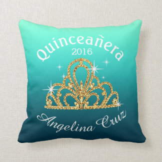 Quinceanera Tiara Bokeh Bling | ombre teal Cushion