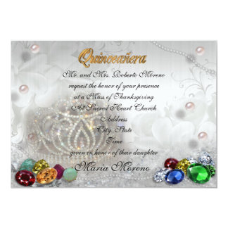 Quinceanera tiara invitation