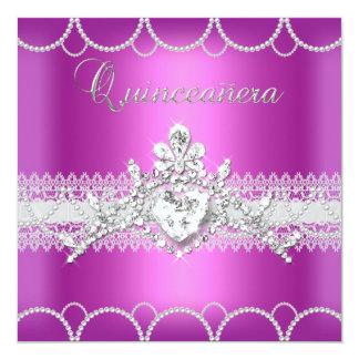 Quinceanera Tiara Pink Pearl Lace Diamond Card