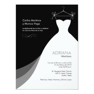 Quinceañera Vestido negro Invitaciones Invites