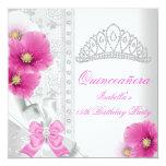 Quinceañera White Pink Floral Diamond Tiara