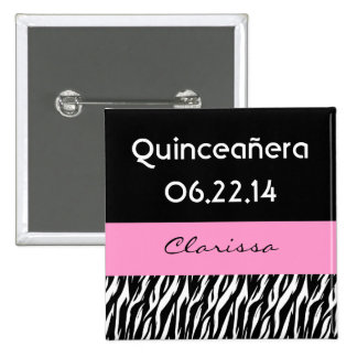 Quinceanera Zebra with Pink Custom Name Pin