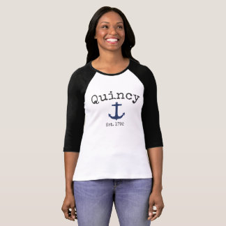 Quincy Massachusetts 3/4 Raglan shirt for women