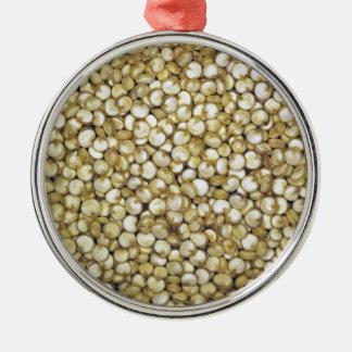 Quinoa grains macro photo metal ornament