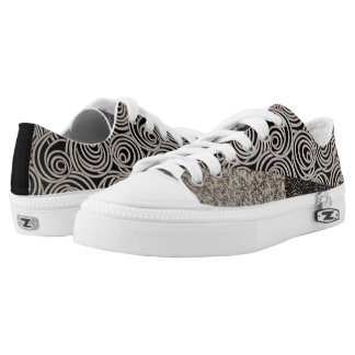 Quirky Black and White Patchwork Low Tops
