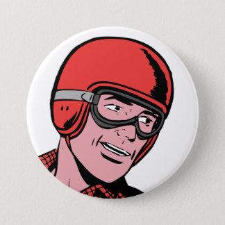 Quirky Cartoon Dude in Helmet Round Button Pin