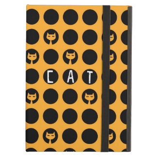 Quirky cat silhouette polka dot pattern iPad air covers