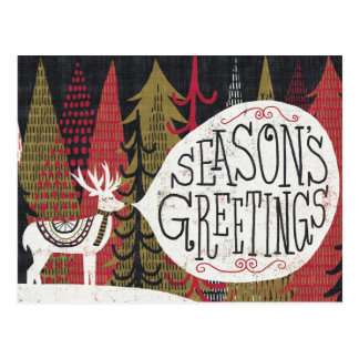 Quirky Christmas Deer Postcard