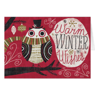 Quirky Christmas Owl Greeting Card