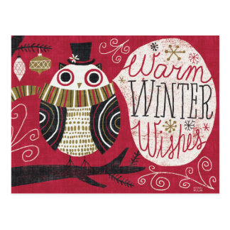 Quirky Christmas Owl Postcard