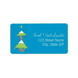 Quirky Christmas Tree Address Label