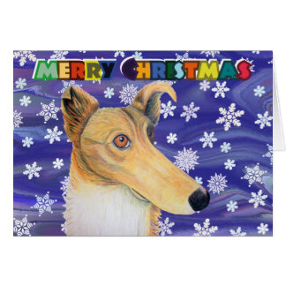 Quirky collie dog christmas card