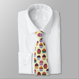 Quirky Colourful Cupcakes Illustration Pattern Tie