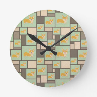 Quirky Corgi Kraft Present Gift Wrap Wrapping Round Clock