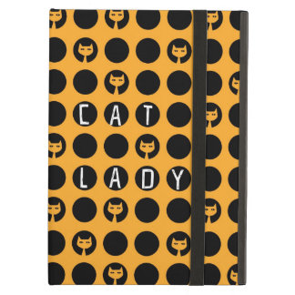 Quirky crazy cat lady polka dot pattern case for iPad air
