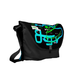 Quirky Creature Says Hello Messenger Bag