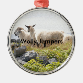 Quirky Designs - Sheep in a field Silver-Colored Round Decoration