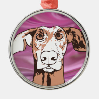 Quirky dog Silver-Colored round decoration