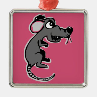 Quirky funny angry rat cartoon Silver-Colored square decoration