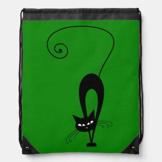 Quirky Funny Black Cat Feline Drawstring Bag