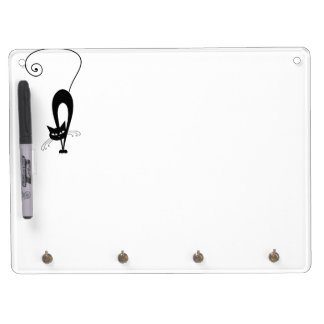 Quirky Funny Black Cat Feline Dry Erase Board With Key Ring Holder
