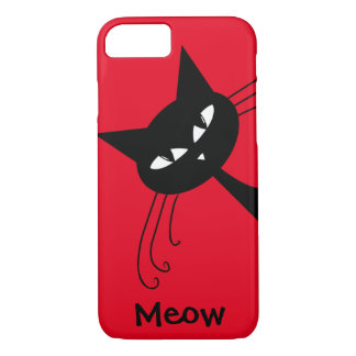 Quirky Funny Black Cat Feline iPhone 8/7 Case