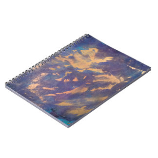 Quirky Gold Purple Black Blue Turquoise Spiral Note Book