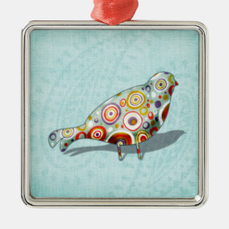 Quirky Little Whimsical Bird On Paisley Blue Silver-Colored Square Decoration