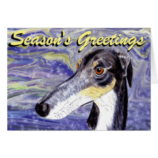 Quirky lurcher Christmas card