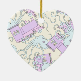 Quirky Octopus/Train Collage Ceramic Heart Decoration