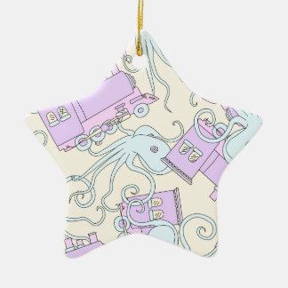 Quirky Octopus/Train Collage Ceramic Star Decoration