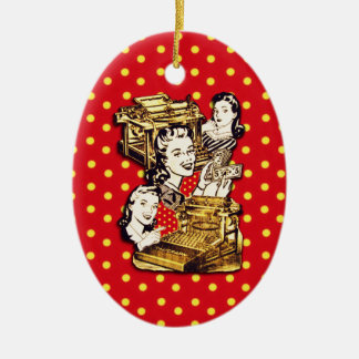 Quirky Office Gals Ceramic Oval Decoration