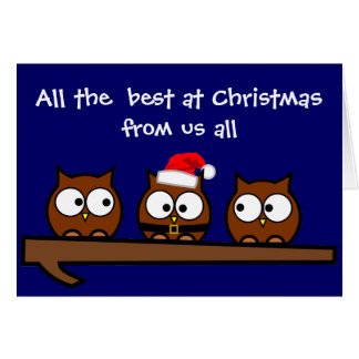 Quirky Owls at Christmas Family Greeting Card